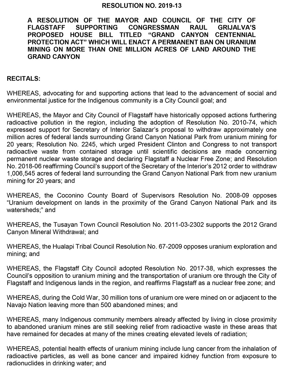 Flagstaff City Council Resolution