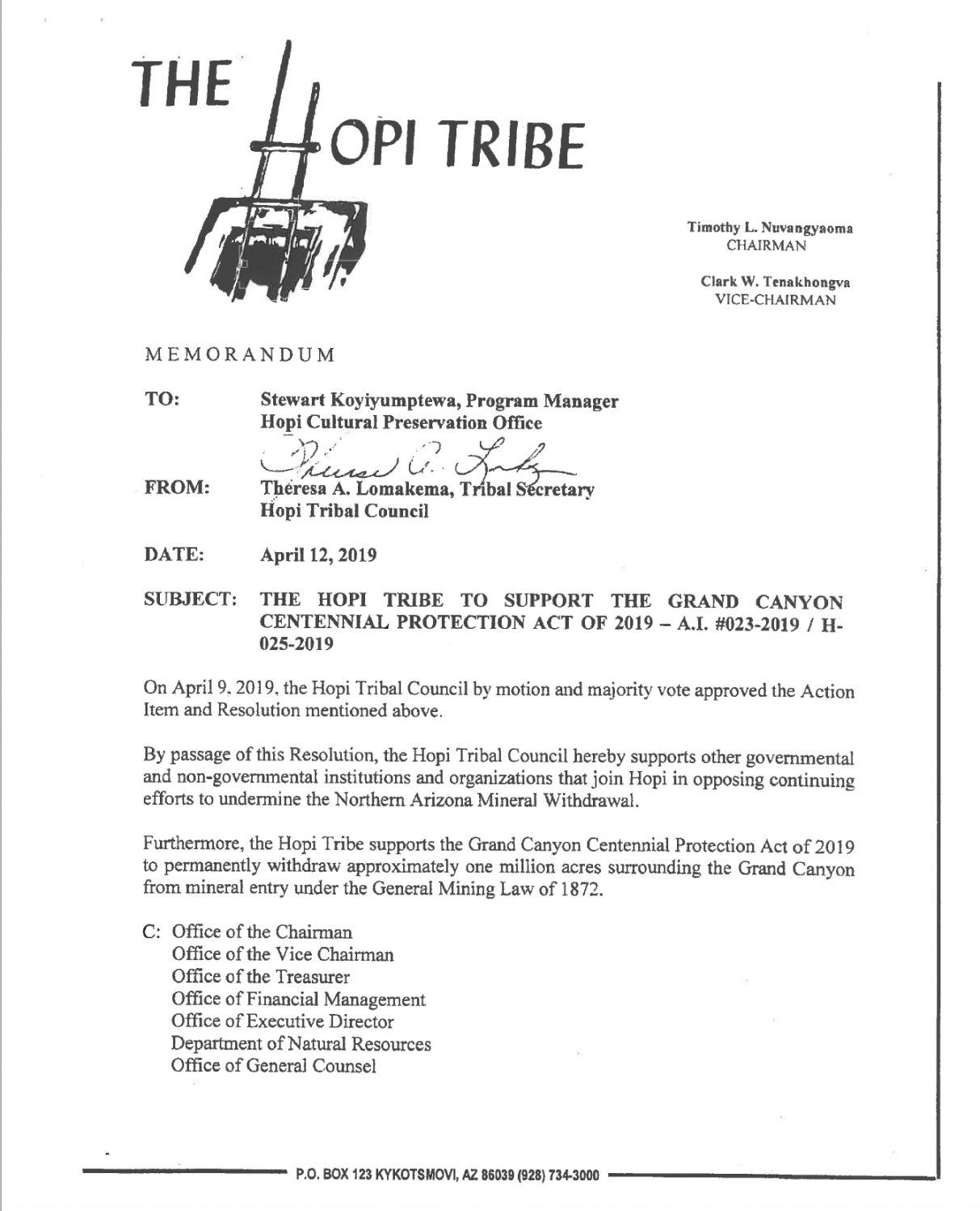 Page 1 of the Hopi Tribe Resolution