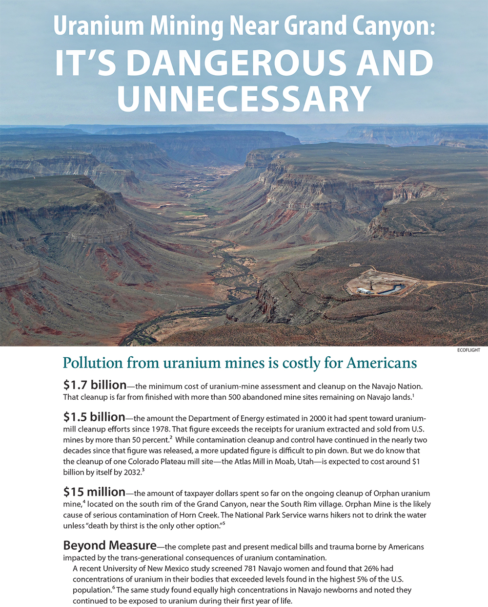 Page 1 of Reasons to Ban Uranium Mining around the Grand Canyon