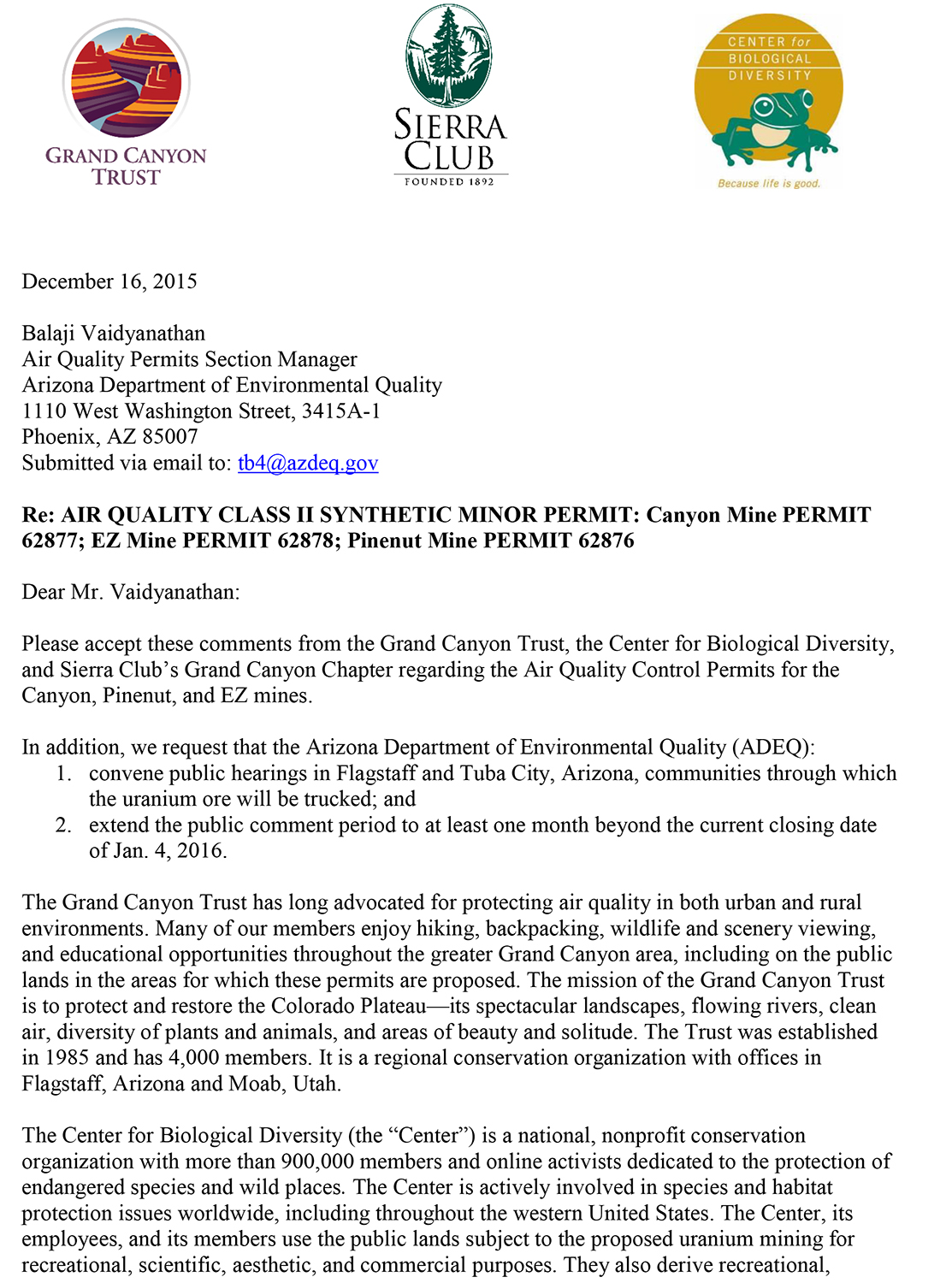 Comments on air quality permit renewals