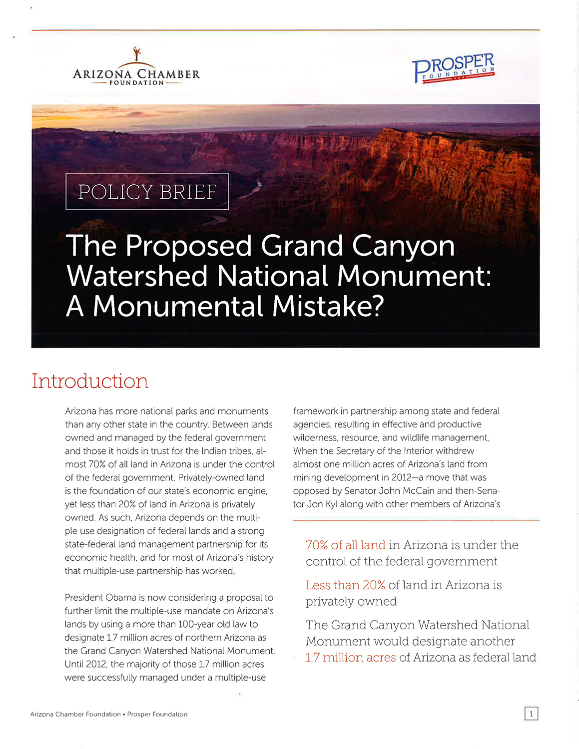 Grand Canyon Monument policy brief