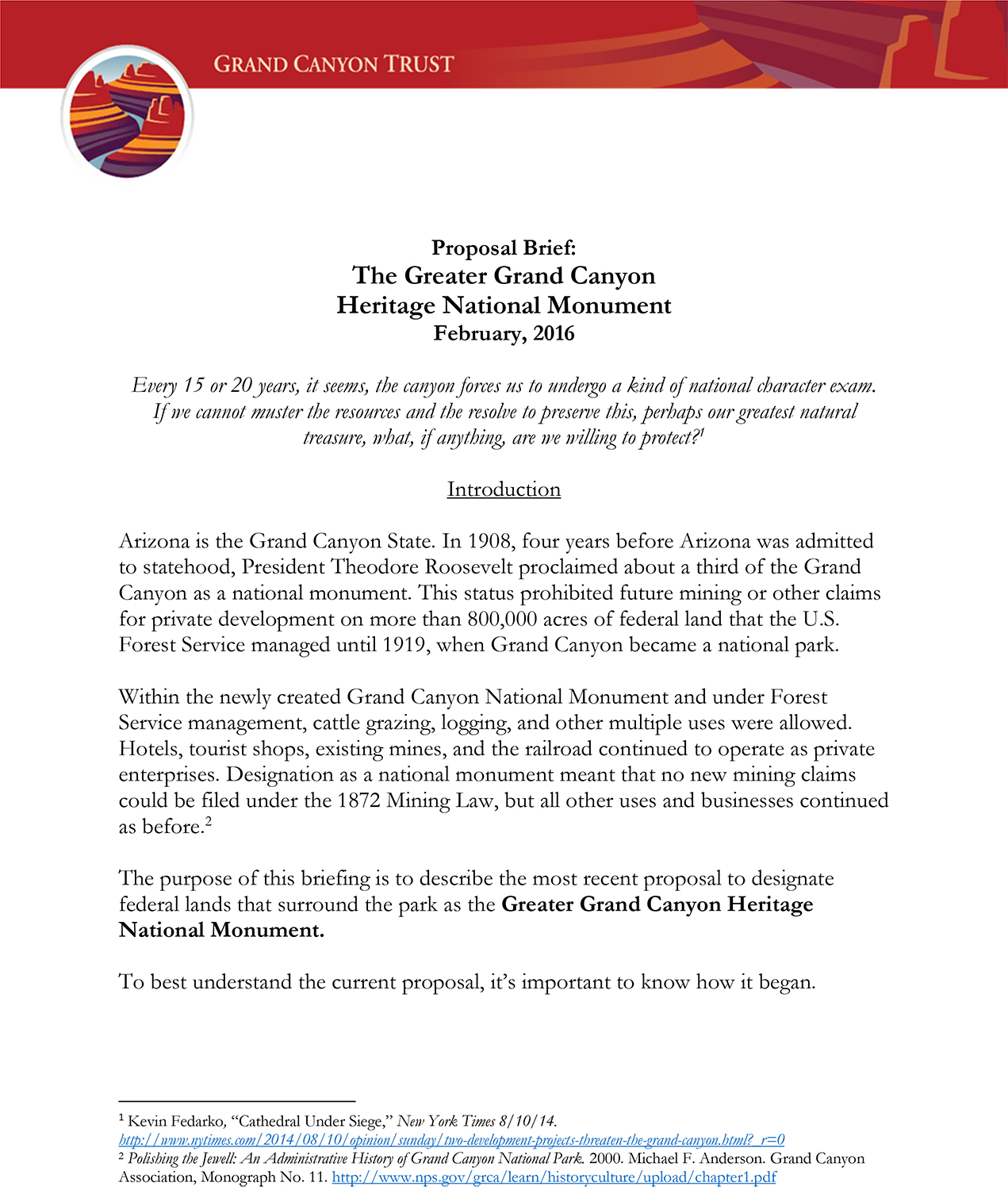 Greater Grand Canyon Heritage National Monument proposal brief