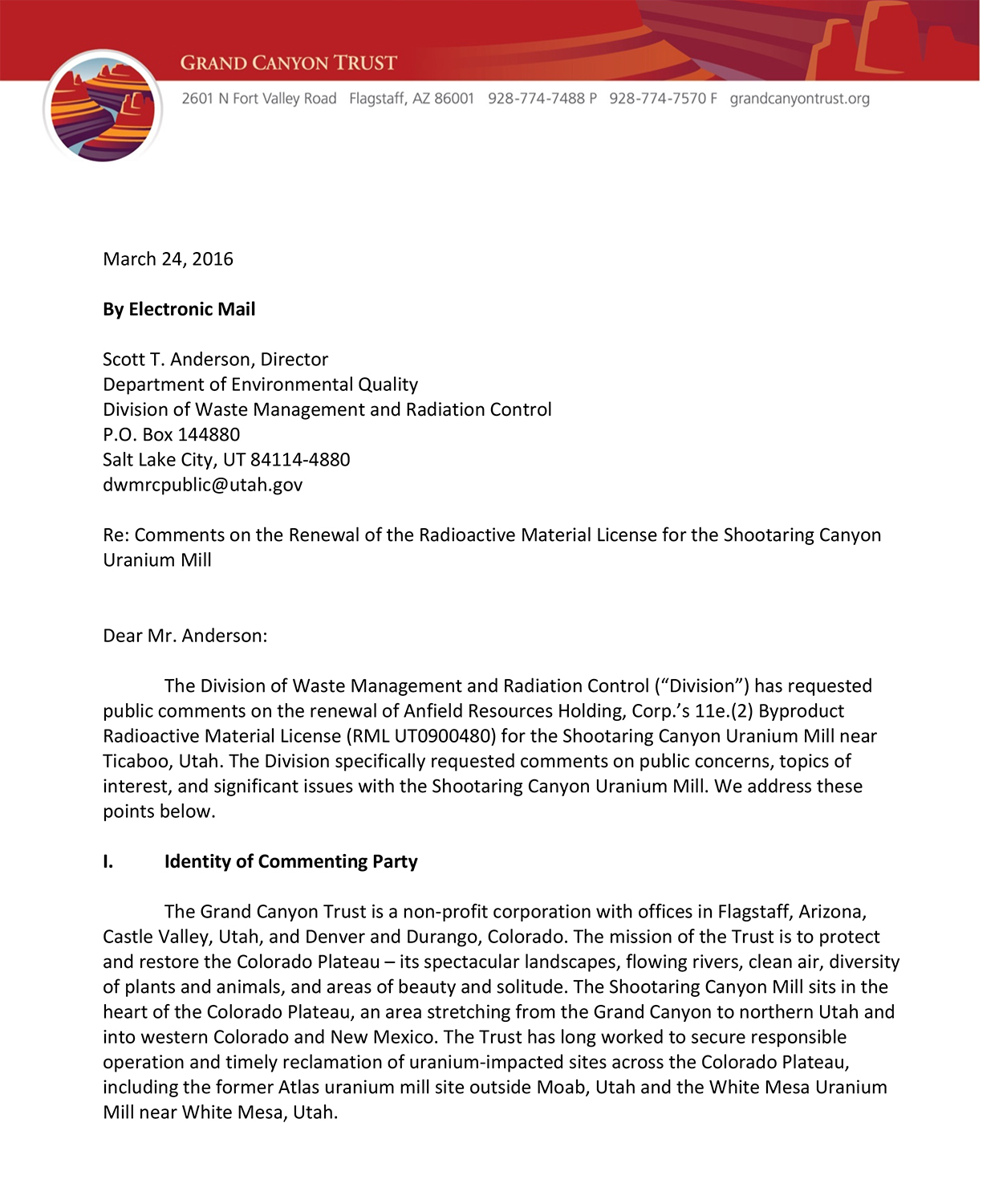 Comments on Shootaring Canyon Uranium Mill license renewal