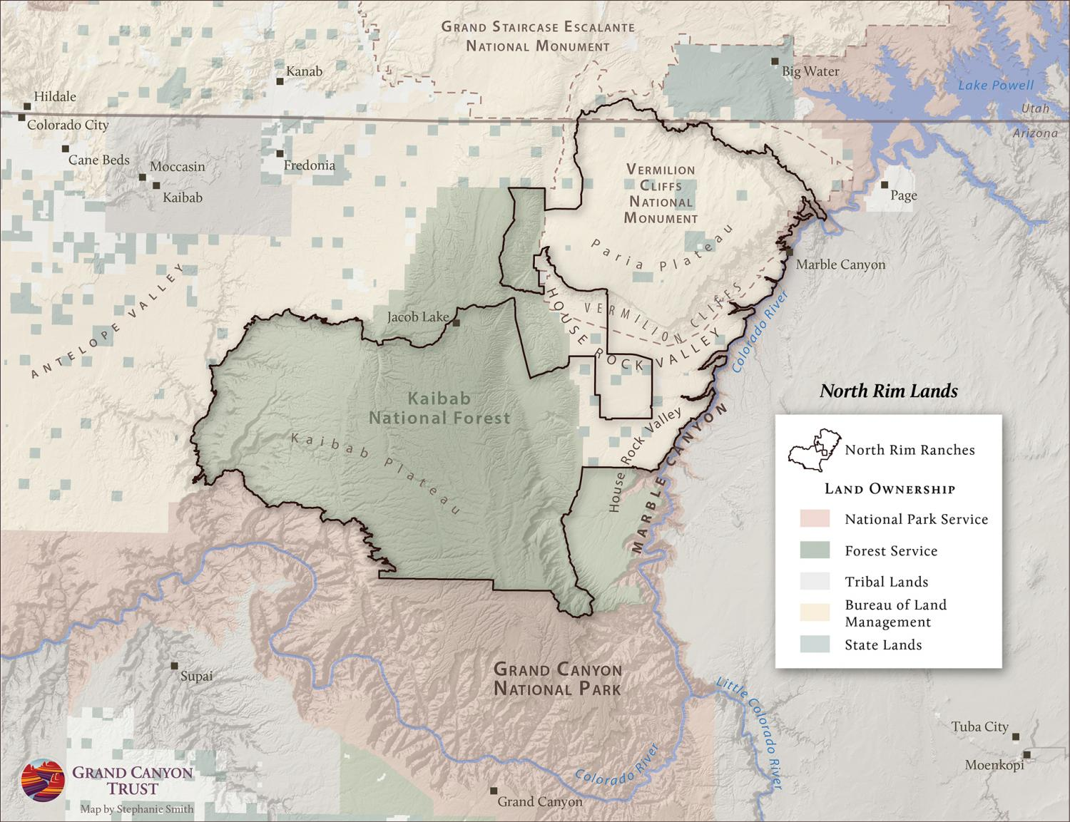 North Rim Ranches map