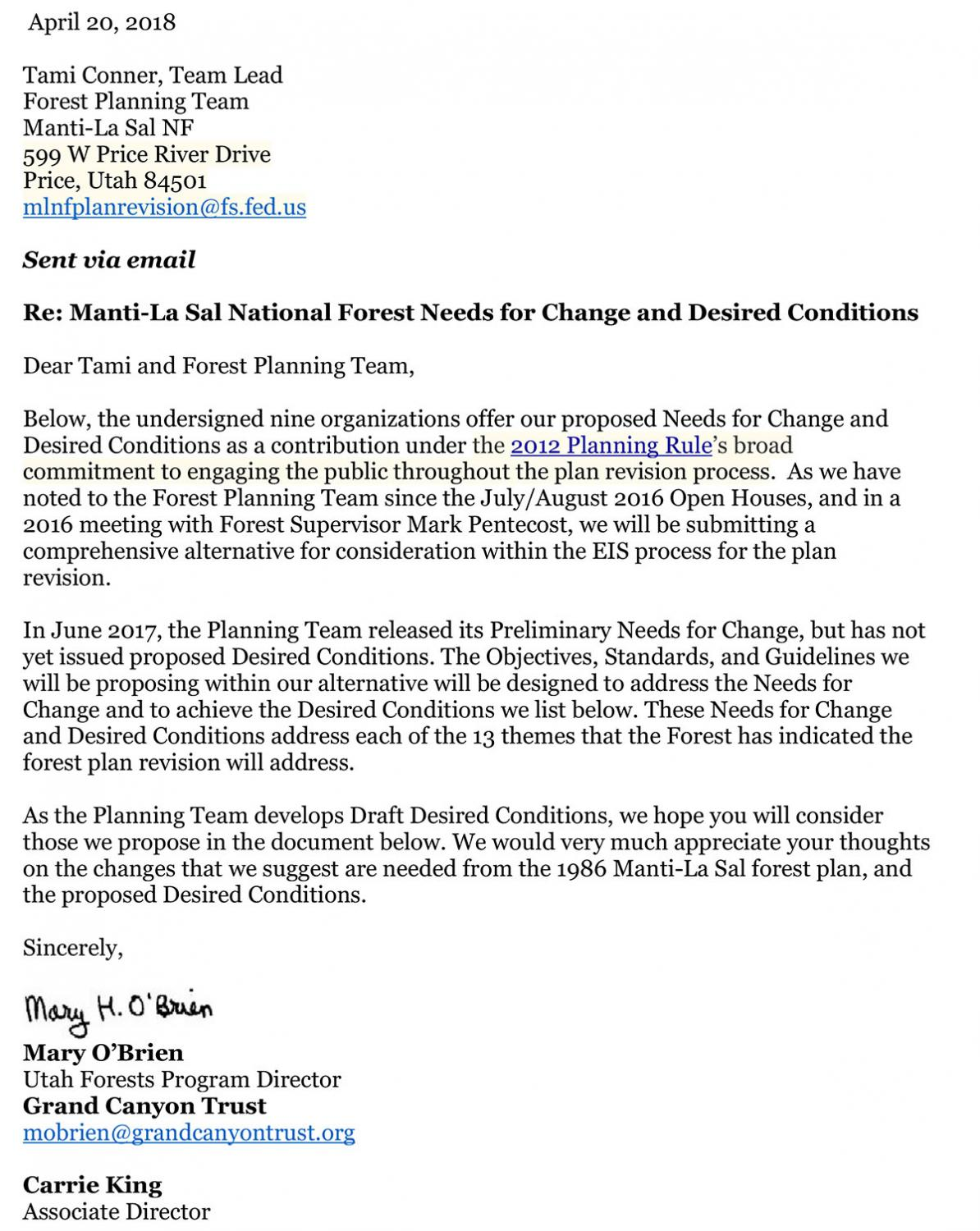 Manti-La Sal National Forest Needs for Change and Desired Conditions