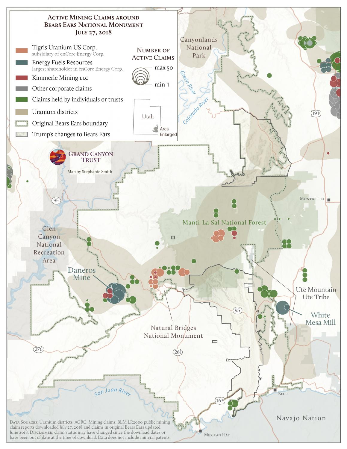 Active mining claims around bears ears